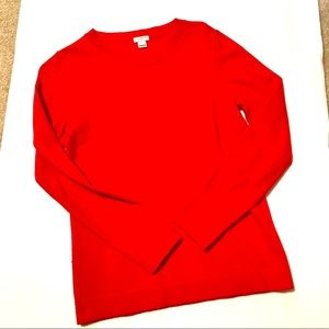 J. Crew red long sleeve wool blend sweater size XS